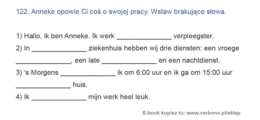 ćwiczenie niderlandzkie słownictwo praca
